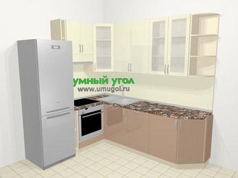 Угловая кухня МДФ глянец в современном стиле 6,6 м², 190 на 240 см, Жасмин / Капучино, верхние модули 92 см, встроенный духовой шкаф, холодильник