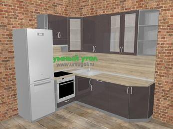 Угловая кухня МДФ глянец в стиле лофт 6,6 м², 190 на 240 см, Шоколад, верхние модули 92 см, встроенный духовой шкаф, холодильник