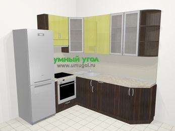 Кухни пластиковые угловые в современном стиле 6,6 м², 190 на 240 см, Желтый Галлион глянец / Дерево Мокка, верхние модули 92 см, встроенный духовой шкаф, холодильник