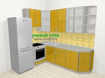 Кухни пластиковые угловые в современном стиле 6,6 м², 190 на 240 см, Желтый глянец, верхние модули 92 см, встроенный духовой шкаф, холодильник
