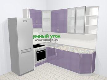 Кухни пластиковые угловые в современном стиле 6,6 м², 190 на 240 см, Сиреневый глянец, верхние модули 92 см, встроенный духовой шкаф, холодильник