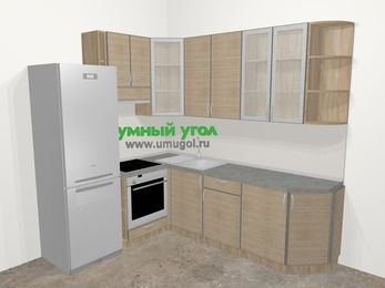 Кухни пластиковые угловые в стиле лофт 6,6 м², 190 на 240 см, Чибли бежевый, верхние модули 92 см, встроенный духовой шкаф, холодильник