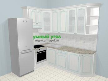 Угловая кухня МДФ патина в стиле прованс 6,6 м², 190 на 240 см, Лиственница белая, верхние модули 92 см, встроенный духовой шкаф, холодильник