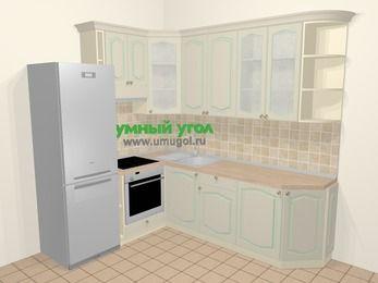 Угловая кухня МДФ патина в стиле прованс 6,6 м², 190 на 240 см, Керамик, верхние модули 92 см, встроенный духовой шкаф, холодильник