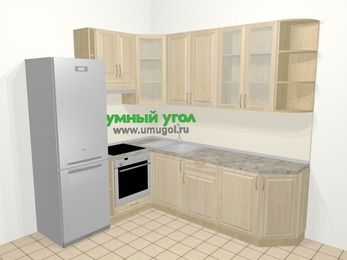 Угловая кухня из массива дерева в классическом стиле 6,6 м², 190 на 240 см, Светло-коричневые оттенки, верхние модули 92 см, встроенный духовой шкаф, холодильник