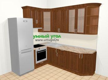 Угловая кухня из массива дерева в классическом стиле 6,6 м², 190 на 240 см, Темно-коричневые оттенки, верхние модули 92 см, встроенный духовой шкаф, холодильник