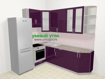 Угловая кухня МДФ глянец в современном стиле 6,6 м², 190 на 240 см, Баклажан, верхние модули 92 см, встроенный духовой шкаф, холодильник