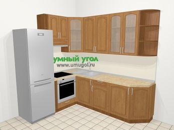Угловая кухня МДФ патина в классическом стиле 6,6 м², 190 на 240 см, Ольха, верхние модули 92 см, встроенный духовой шкаф, холодильник