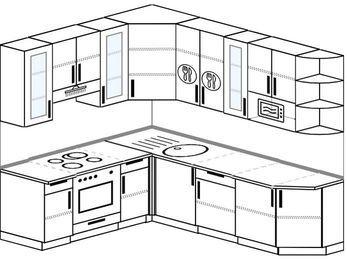 Угловая кухня 6,6 м² (1,9✕2,4 м), верхние модули 92 см, модуль под свч, встроенный духовой шкаф