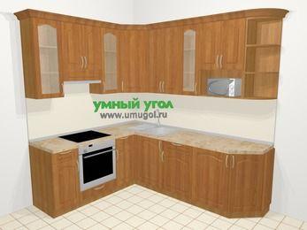 Угловая кухня МДФ матовый в классическом стиле 6,6 м², 190 на 240 см, Вишня, верхние модули 92 см, модуль под свч, встроенный духовой шкаф