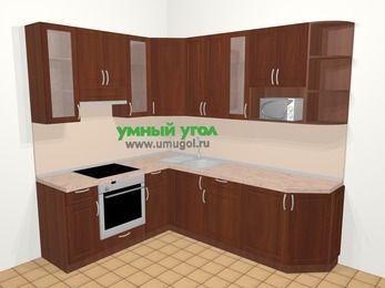 Угловая кухня МДФ матовый в классическом стиле 6,6 м², 190 на 240 см, Вишня темная, верхние модули 92 см, модуль под свч, встроенный духовой шкаф