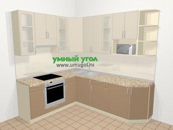 Угловая кухня МДФ матовый в современном стиле 6,6 м², 190 на 240 см, Керамик / Кофе, верхние модули 92 см, модуль под свч, встроенный духовой шкаф