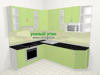 Угловая кухня МДФ металлик в современном стиле 6,6 м², 190 на 240 см, Салатовый металлик, верхние модули 92 см, модуль под свч, встроенный духовой шкаф