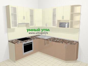 Угловая кухня МДФ глянец в современном стиле 6,6 м², 190 на 240 см, Жасмин / Капучино, верхние модули 92 см, модуль под свч, встроенный духовой шкаф
