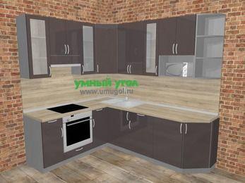 Угловая кухня МДФ глянец в стиле лофт 6,6 м², 190 на 240 см, Шоколад, верхние модули 92 см, модуль под свч, встроенный духовой шкаф