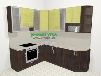 Кухни пластиковые угловые в современном стиле 6,6 м², 190 на 240 см, Желтый Галлион глянец / Дерево Мокка, верхние модули 92 см, модуль под свч, встроенный духовой шкаф