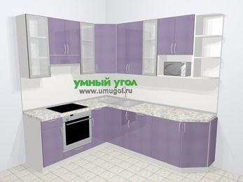 Кухни пластиковые угловые в современном стиле 6,6 м², 190 на 240 см, Сиреневый глянец, верхние модули 92 см, модуль под свч, встроенный духовой шкаф