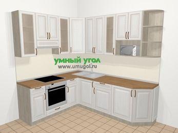 Угловая кухня МДФ патина в классическом стиле 6,6 м², 190 на 240 см, Лиственница белая, верхние модули 92 см, модуль под свч, встроенный духовой шкаф