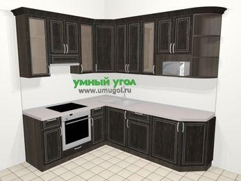 Угловая кухня МДФ патина в классическом стиле 6,6 м², 190 на 240 см, Венге, верхние модули 92 см, модуль под свч, встроенный духовой шкаф