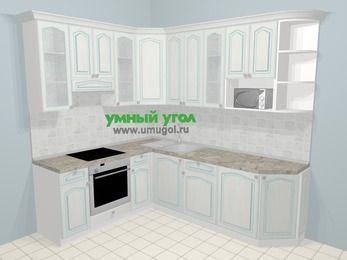 Угловая кухня МДФ патина в стиле прованс 6,6 м², 190 на 240 см, Лиственница белая, верхние модули 92 см, модуль под свч, встроенный духовой шкаф