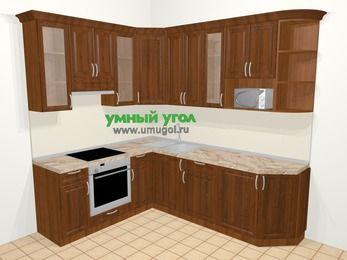 Угловая кухня из массива дерева в классическом стиле 6,6 м², 190 на 240 см, Темно-коричневые оттенки, верхние модули 92 см, модуль под свч, встроенный духовой шкаф