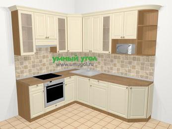 Угловая кухня из массива дерева в стиле кантри 6,6 м², 190 на 240 см, Бежевые оттенки, верхние модули 92 см, модуль под свч, встроенный духовой шкаф