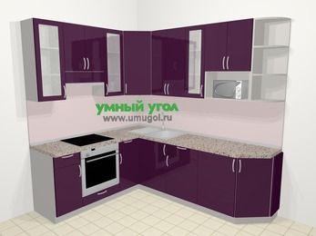 Угловая кухня МДФ глянец в современном стиле 6,6 м², 190 на 240 см, Баклажан, верхние модули 92 см, модуль под свч, встроенный духовой шкаф