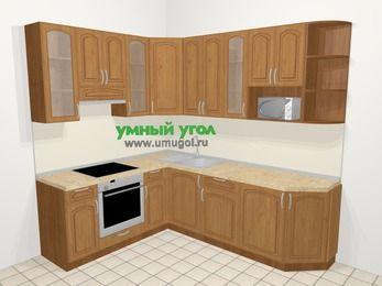 Угловая кухня МДФ патина в классическом стиле 6,6 м², 190 на 240 см, Ольха, верхние модули 92 см, модуль под свч, встроенный духовой шкаф