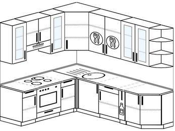 Угловая кухня 6,6 м² (1,9✕2,4 м), верхние модули 92 см, встроенный духовой шкаф