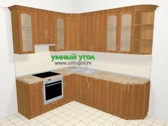 Угловая кухня МДФ матовый в классическом стиле 6,6 м², 190 на 240 см, Вишня, верхние модули 92 см, встроенный духовой шкаф