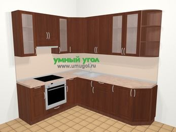 Угловая кухня МДФ матовый в классическом стиле 6,6 м², 190 на 240 см, Вишня темная, верхние модули 92 см, встроенный духовой шкаф