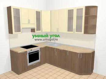 Угловая кухня МДФ матовый в современном стиле 6,6 м², 190 на 240 см, Ваниль / Лиственница бронзовая, верхние модули 92 см, встроенный духовой шкаф
