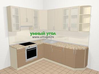Угловая кухня МДФ матовый в современном стиле 6,6 м², 190 на 240 см, Керамик / Кофе, верхние модули 92 см, встроенный духовой шкаф