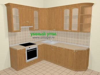 Угловая кухня МДФ матовый в стиле кантри 6,6 м², 190 на 240 см, Ольха, верхние модули 92 см, встроенный духовой шкаф