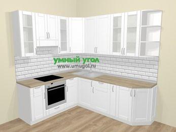 Угловая кухня МДФ матовый  в скандинавском стиле 6,6 м², 190 на 240 см, Белый, верхние модули 92 см, встроенный духовой шкаф