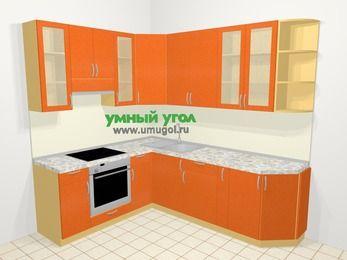 Угловая кухня МДФ металлик в современном стиле 6,6 м², 190 на 240 см, Оранжевый металлик, верхние модули 92 см, встроенный духовой шкаф