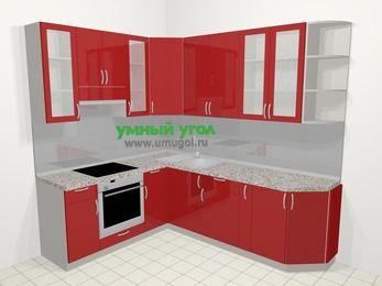 Угловая кухня МДФ глянец в современном стиле 6,6 м², 190 на 240 см, Красный, верхние модули 92 см, встроенный духовой шкаф
