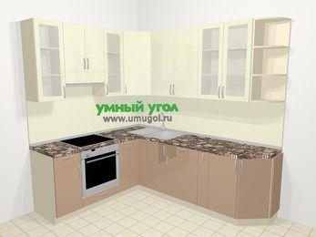 Угловая кухня МДФ глянец в современном стиле 6,6 м², 190 на 240 см, Жасмин / Капучино, верхние модули 92 см, встроенный духовой шкаф