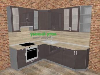 Угловая кухня МДФ глянец в стиле лофт 6,6 м², 190 на 240 см, Шоколад, верхние модули 92 см, встроенный духовой шкаф