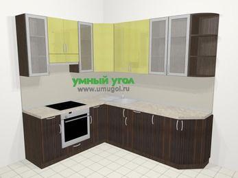 Кухни пластиковые угловые в современном стиле 6,6 м², 190 на 240 см, Желтый Галлион глянец / Дерево Мокка, верхние модули 92 см, встроенный духовой шкаф