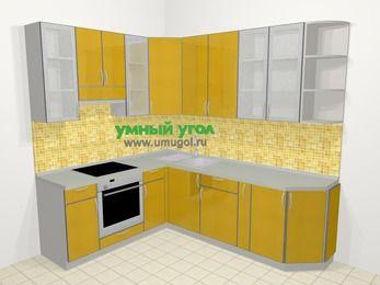 Кухни пластиковые угловые в современном стиле 6,6 м², 190 на 240 см, Желтый глянец, верхние модули 92 см, встроенный духовой шкаф