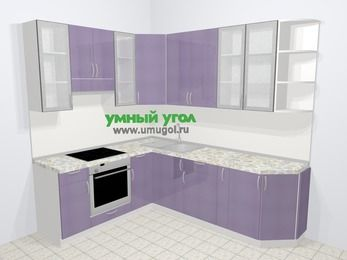Кухни пластиковые угловые в современном стиле 6,6 м², 190 на 240 см, Сиреневый глянец, верхние модули 92 см, встроенный духовой шкаф
