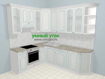 Угловая кухня МДФ патина в стиле прованс 6,6 м², 190 на 240 см, Лиственница белая, верхние модули 92 см, встроенный духовой шкаф