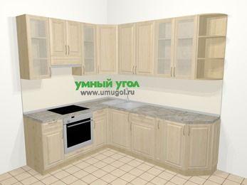 Угловая кухня из массива дерева в классическом стиле 6,6 м², 190 на 240 см, Светло-коричневые оттенки, верхние модули 92 см, встроенный духовой шкаф