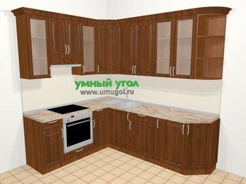 Угловая кухня из массива дерева в классическом стиле 6,6 м², 190 на 240 см, Темно-коричневые оттенки, верхние модули 92 см, встроенный духовой шкаф