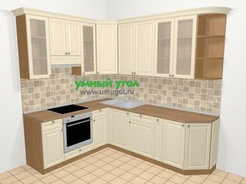 Угловая кухня из массива дерева в стиле кантри 6,6 м², 190 на 240 см, Бежевые оттенки, верхние модули 92 см, встроенный духовой шкаф