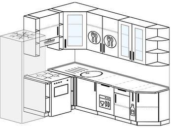 Угловая кухня 6,6 м² (1,9✕2,4 м), верхние модули 92 см, посудомоечная машина, холодильник, отдельно стоящая плита