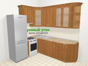 Угловая кухня МДФ матовый в классическом стиле 6,6 м², 190 на 240 см, Вишня, верхние модули 92 см, посудомоечная машина, холодильник, отдельно стоящая плита