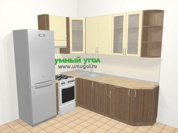 Угловая кухня МДФ матовый в современном стиле 6,6 м², 190 на 240 см, Ваниль / Лиственница бронзовая, верхние модули 92 см, посудомоечная машина, холодильник, отдельно стоящая плита