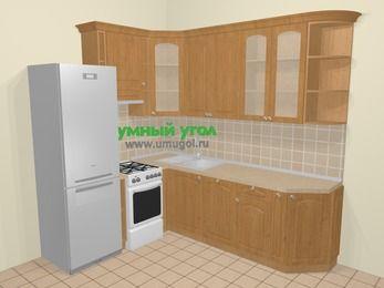 Угловая кухня МДФ матовый в стиле кантри 6,6 м², 190 на 240 см, Ольха, верхние модули 92 см, посудомоечная машина, холодильник, отдельно стоящая плита